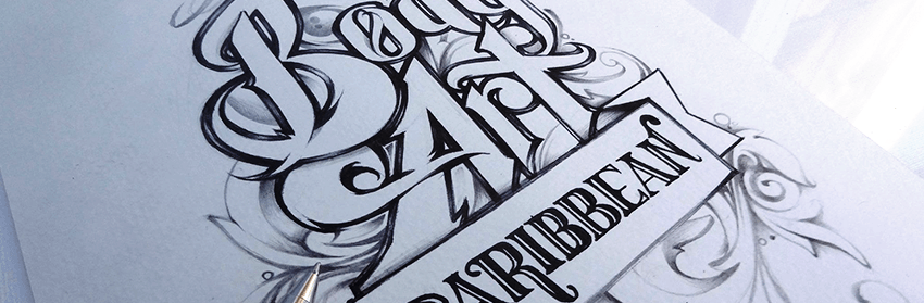 Body Art Caribbean drawn with a ballpoint pen on vellum